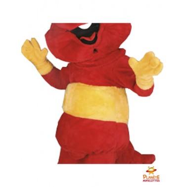 Costume mascotte chenille rouge