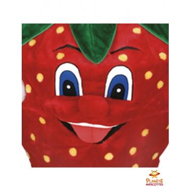 Visage mascotte fraise